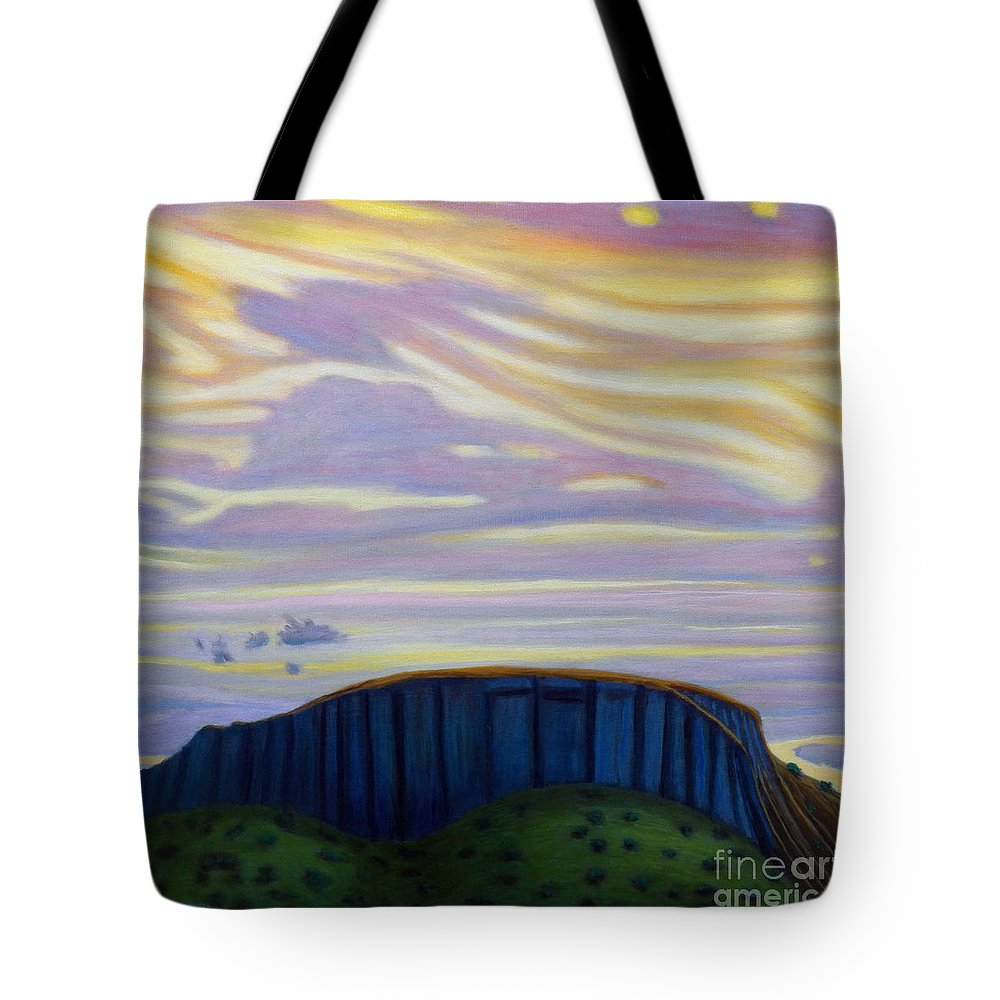 Black Mesa Tote Bag featuring the painting Black Mesa by Brian Commerford