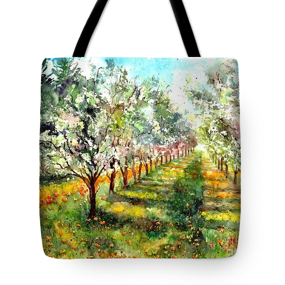 Trees Tote Bag featuring the painting Blooming Trees by Suzann Sines