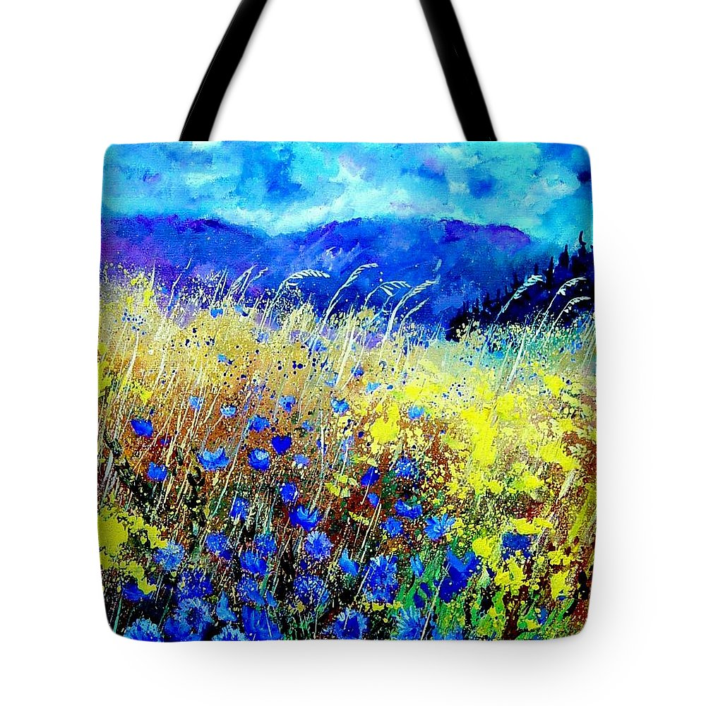 Poppies Tote Bag featuring the painting Blue cornflowers 67 by Pol Ledent