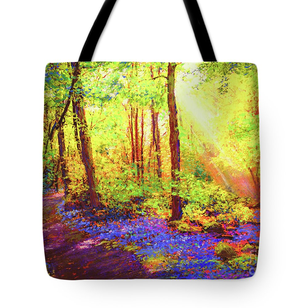 Landscape Tote Bag featuring the painting Bluebell Blessing by Jane Small