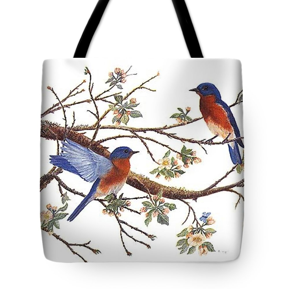Bluebirds Tote Bag featuring the painting Bluebirds And Apple Blossoms by Ben Kiger