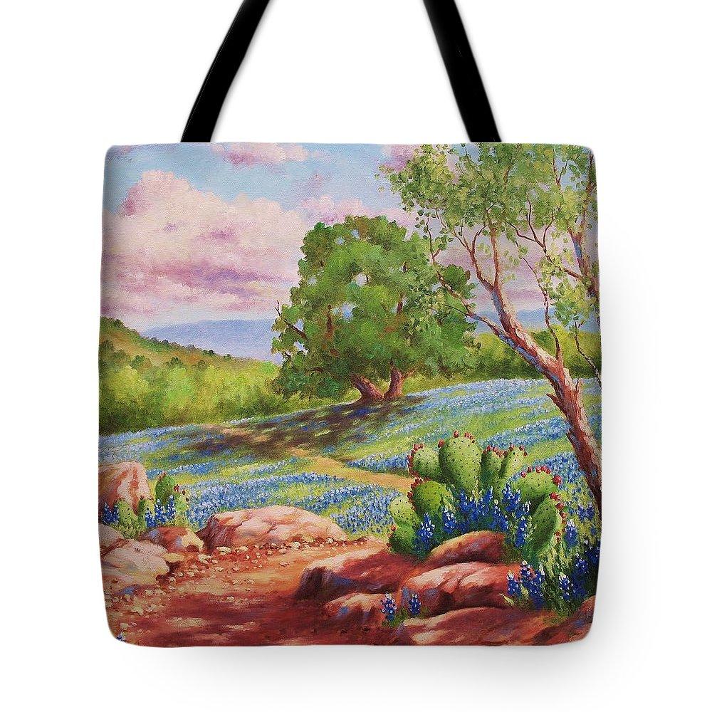Bluebonnet Tote Bag featuring the painting Bluebonnet Trail by David G Paul