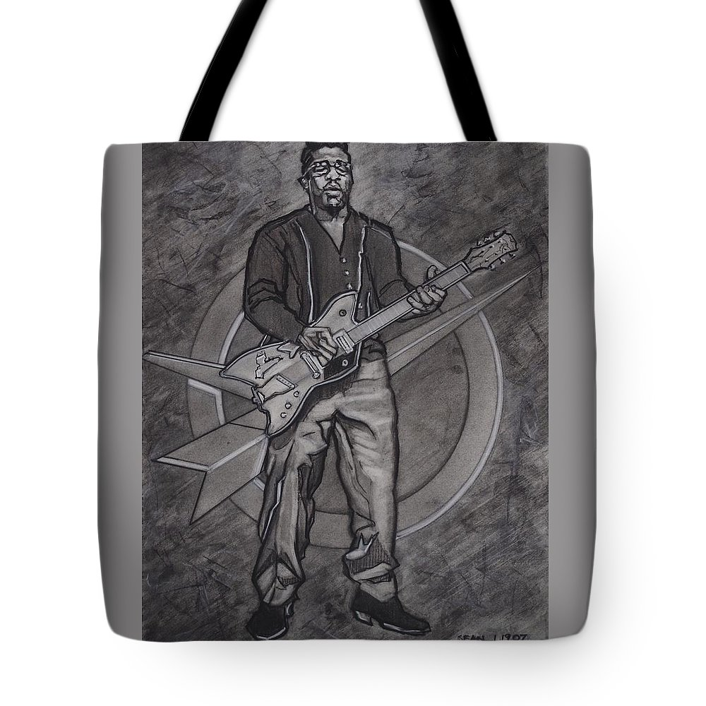Texas Tote Bag featuring the drawing Bo Diddley - Have Guitar Will Travel by Sean Connolly