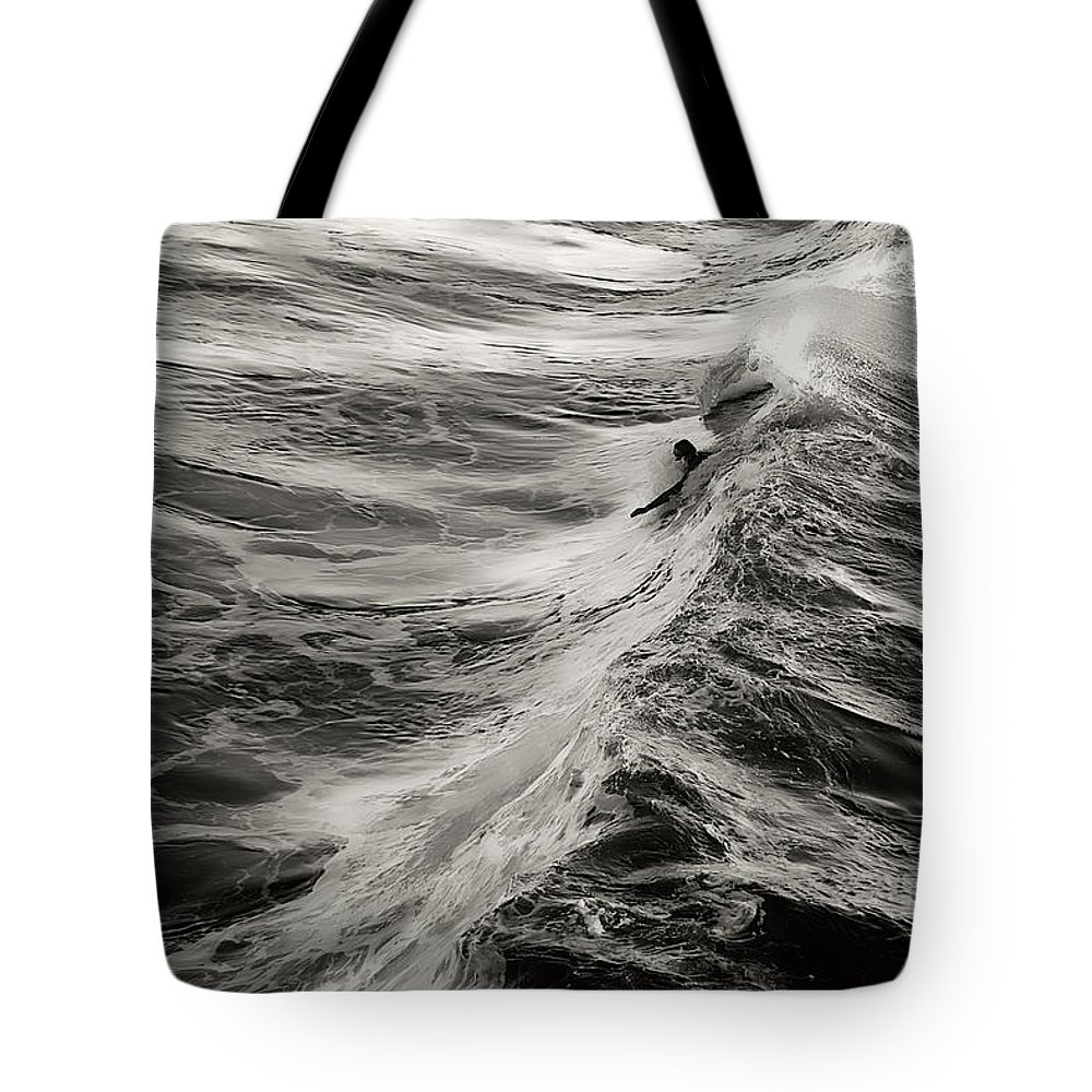 Body Surfer Tote Bag featuring the photograph Body Surfing by Zayne Diamond Photographic