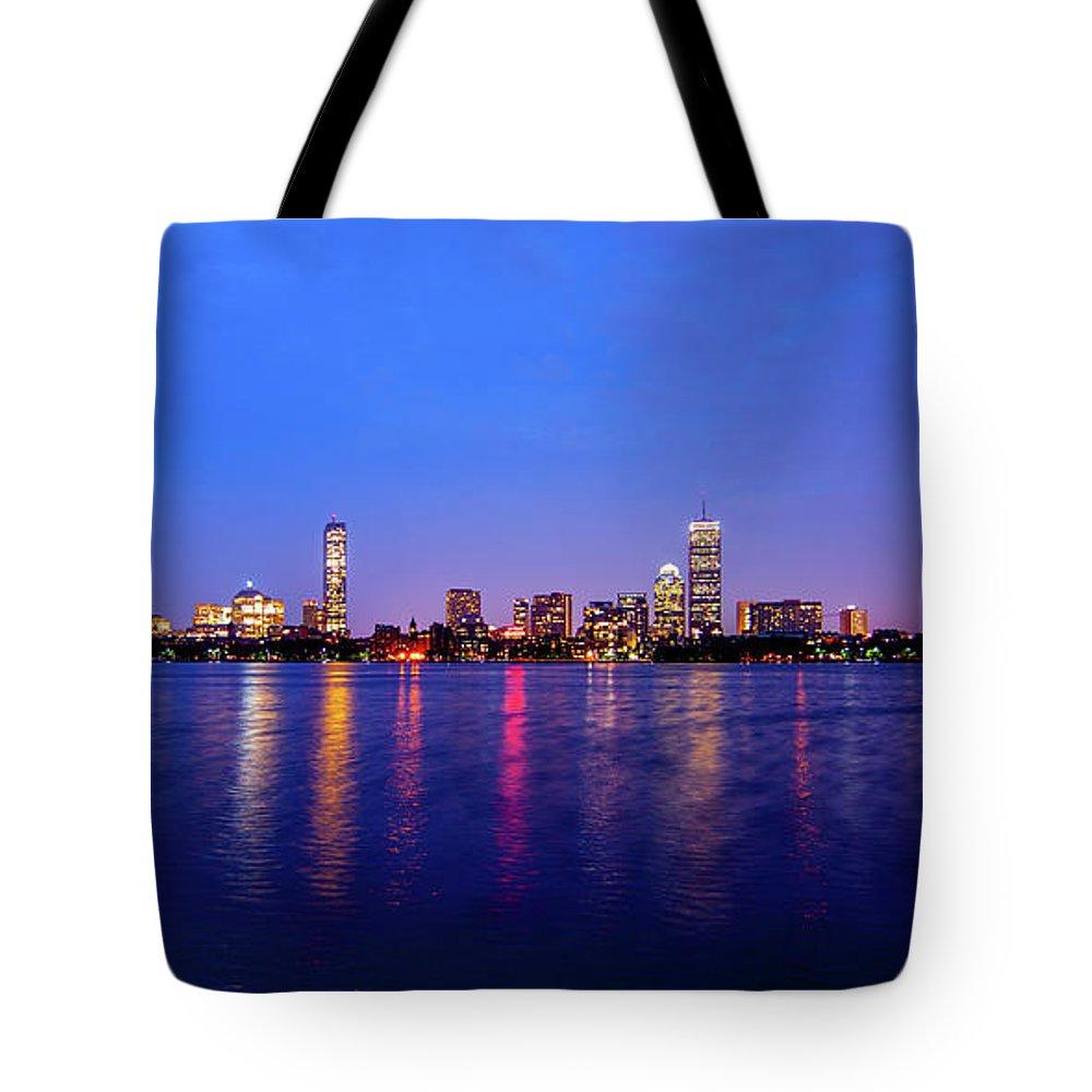 Skyline Tote Bag featuring the photograph Boston Skyline Night by Trevor Slauenwhite