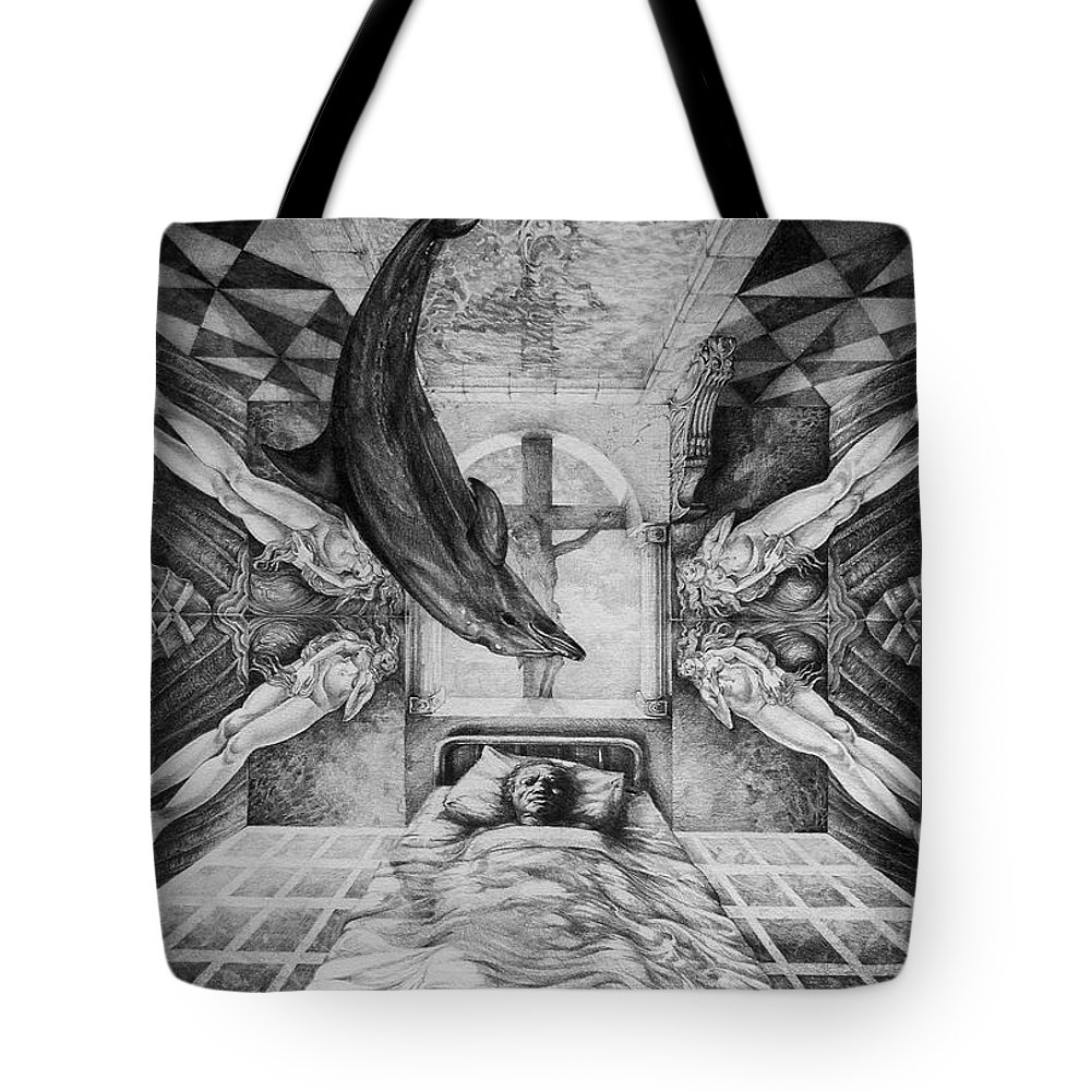 Surrealism Tote Bag featuring the drawing Botticellis Dream by Otto Rapp