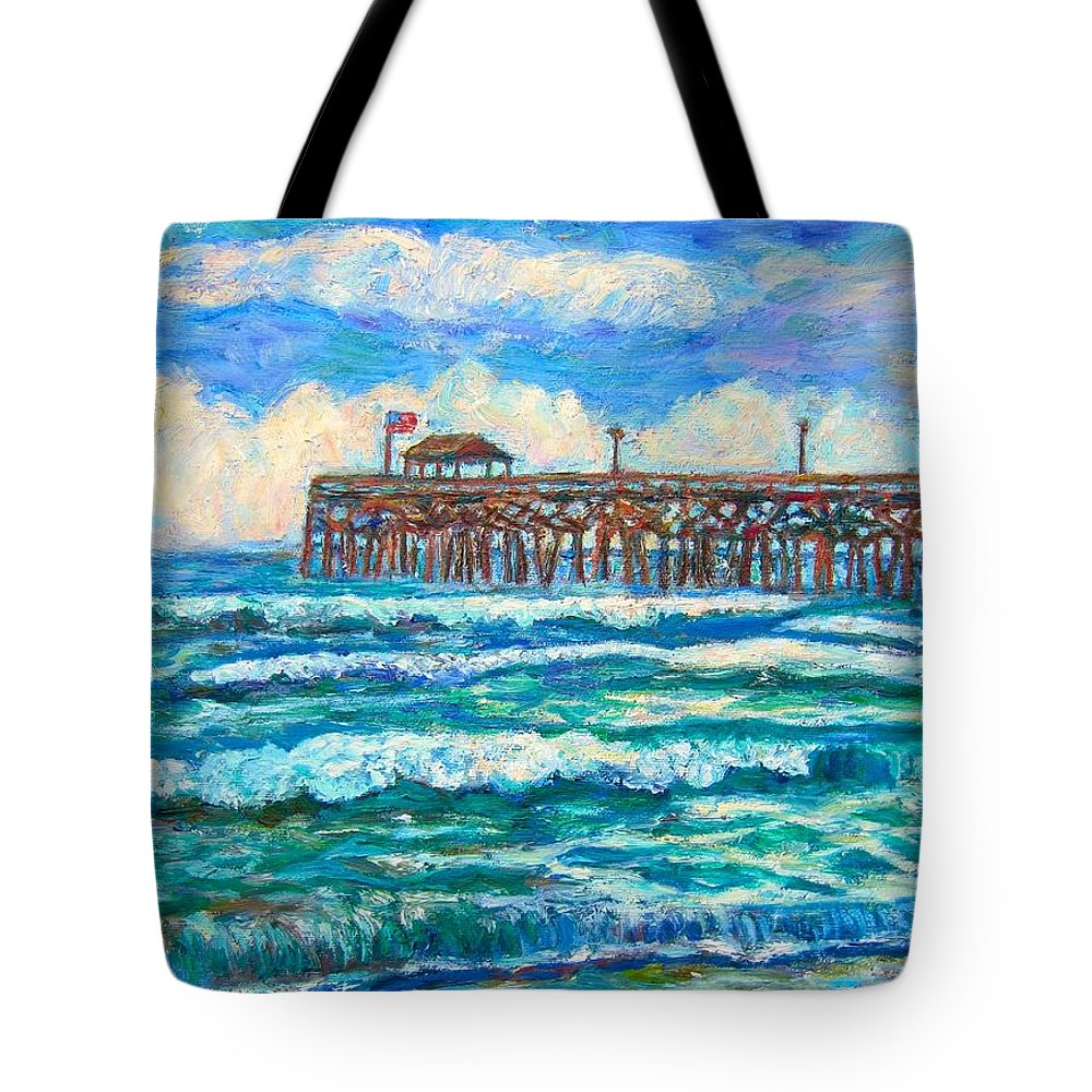Shore Scenes Tote Bag featuring the painting Breakers at Pawleys Island by Kendall Kessler