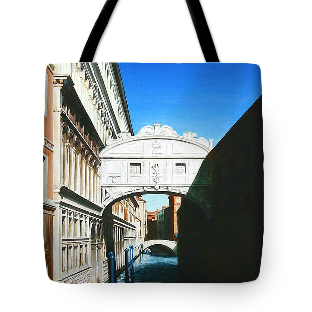 Bridge Of Sighs Tote Bag featuring the painting Bridge Of Sighs Venice Italy by Gary Hernandez