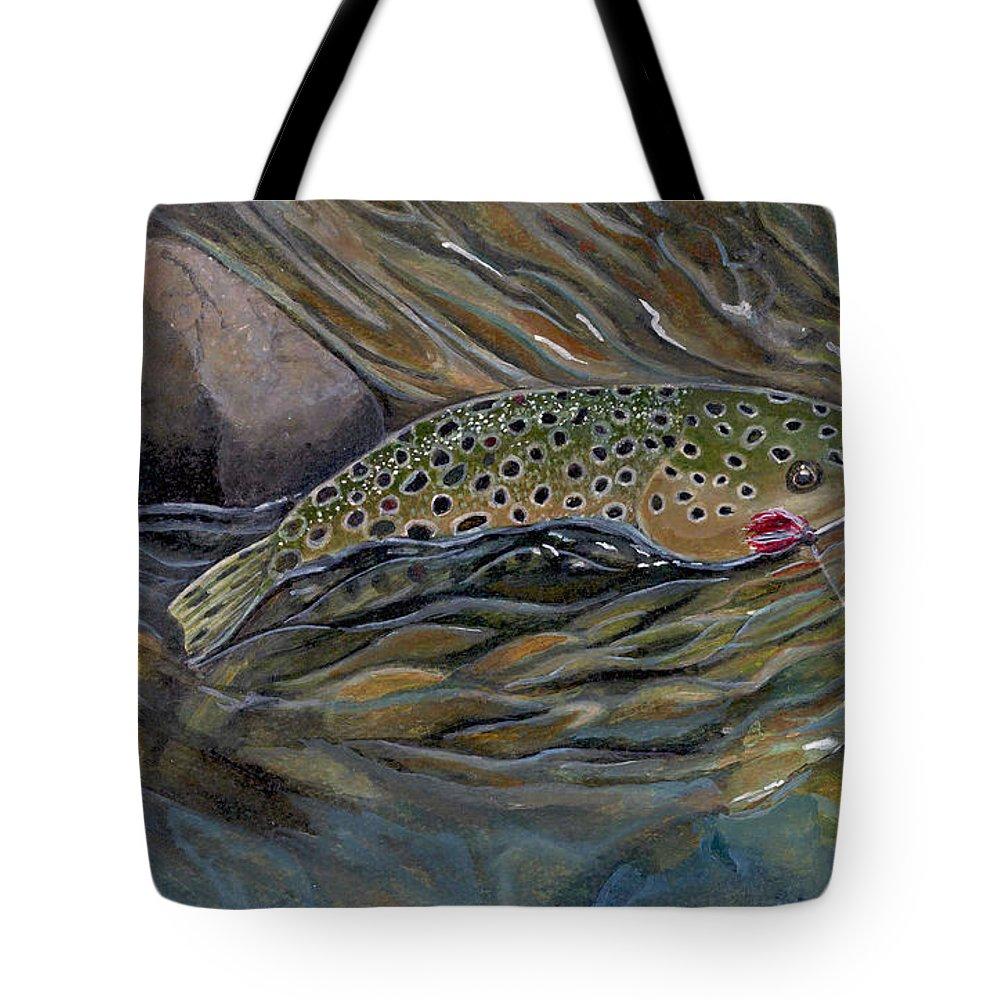 Rick Huotari Tote Bag featuring the painting Brown II by Rick Huotari