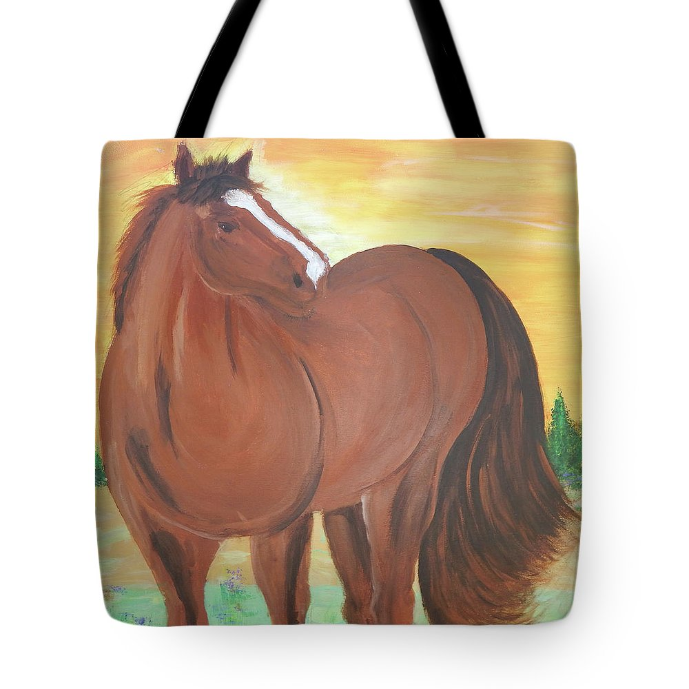 Ocala Tote Bag featuring the painting Brownie in field by Jorge Delara