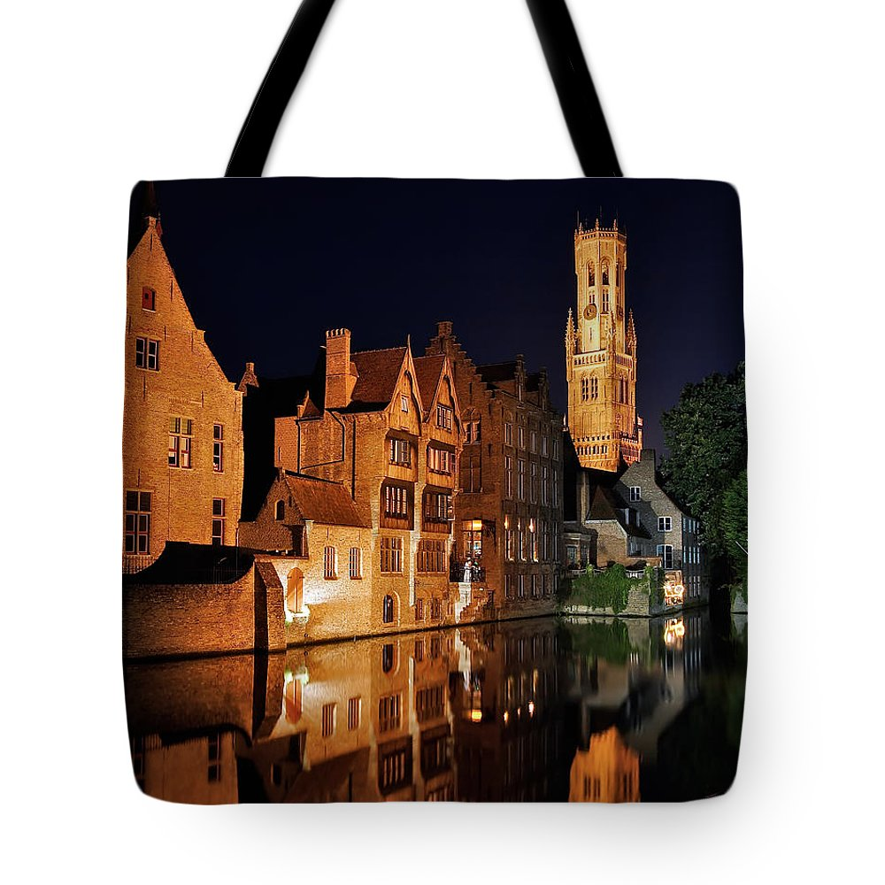 3scape Photos Tote Bag featuring the photograph Brugge Night by Adam Romanowicz