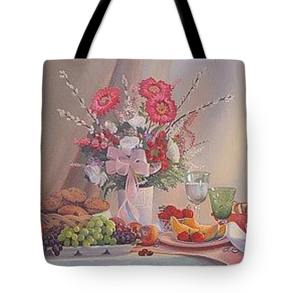 Still Life Tote Bag featuring the painting Brunch by Dianne Panarelli Miller