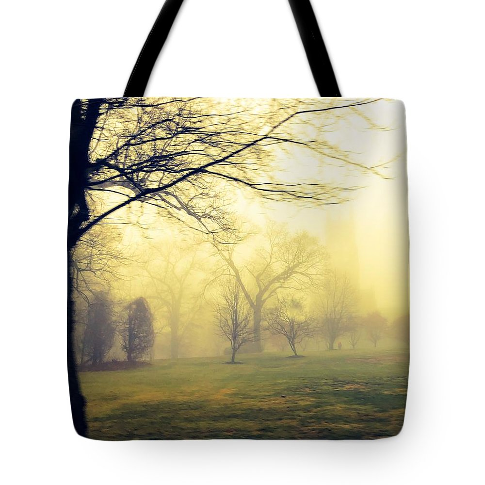 Mist Tote Bag featuring the photograph Bryn Athyn Drive By by Eddy Mann