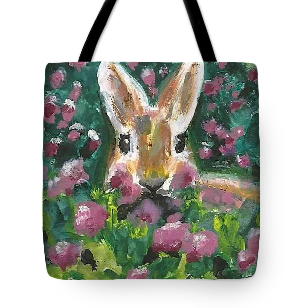 Bunny Painting Tote Bag featuring the painting Bunny by Monica Resinger