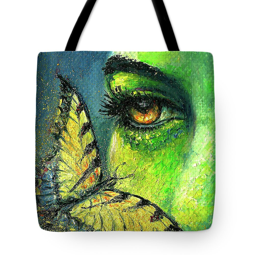 Woman Face Tote Bag featuring the painting Butterfly Fantasy by Natalja Picugina