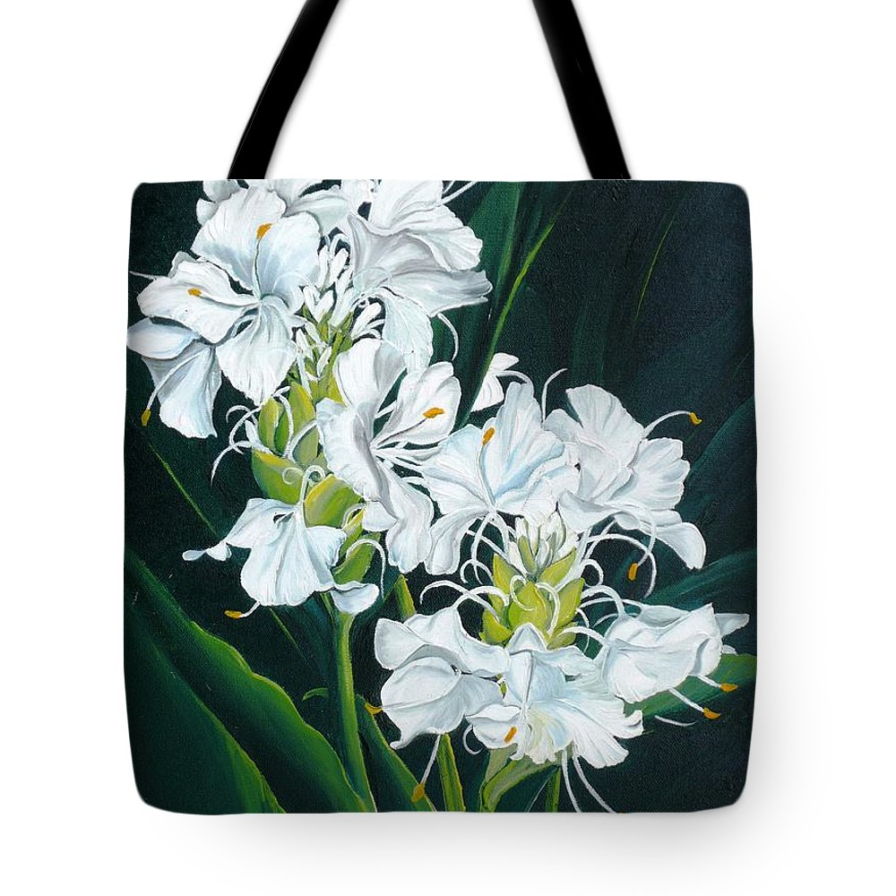 Caribbean Painting Butterfly Ginger Painting Floral Painting Botanical Painting Flower Painting Water Ginger Painting Or Water Ginger Tropical Lily Painting Original Oil Painting Trinidad And  Tobago Painting Tropical Painting Lily Painting White Flower Painting Tote Bag featuring the painting Butterfly Ginger by Karin Dawn Kelshall- Best