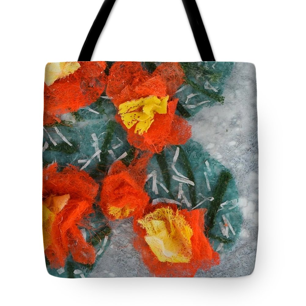 Dryer Sheets Tote Bag featuring the mixed media Cactus Flowers by Charla Van Vlack