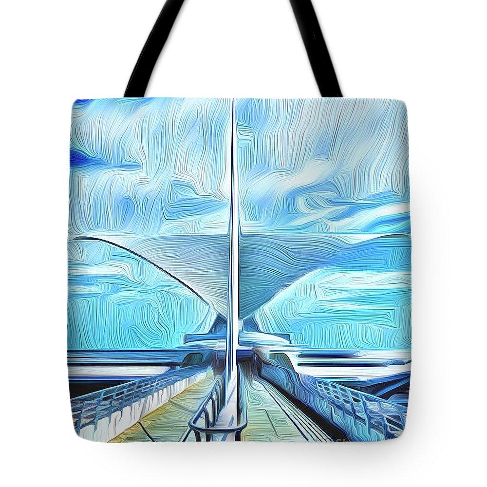 Tote Bag featuring the digital art Calatrava Milwaukee by Michael Stothard