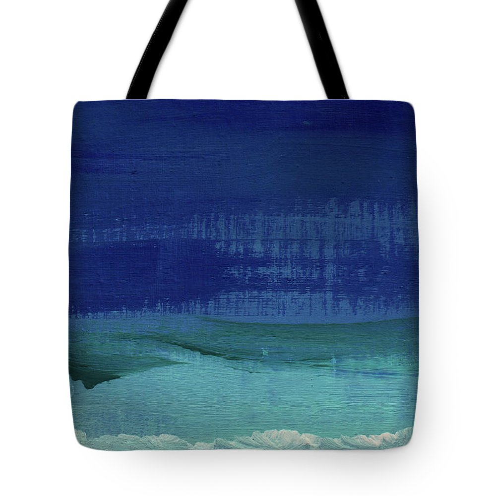 Abstract Art Tote Bag featuring the painting Calm Waters- Abstract Landscape Painting by Linda Woods
