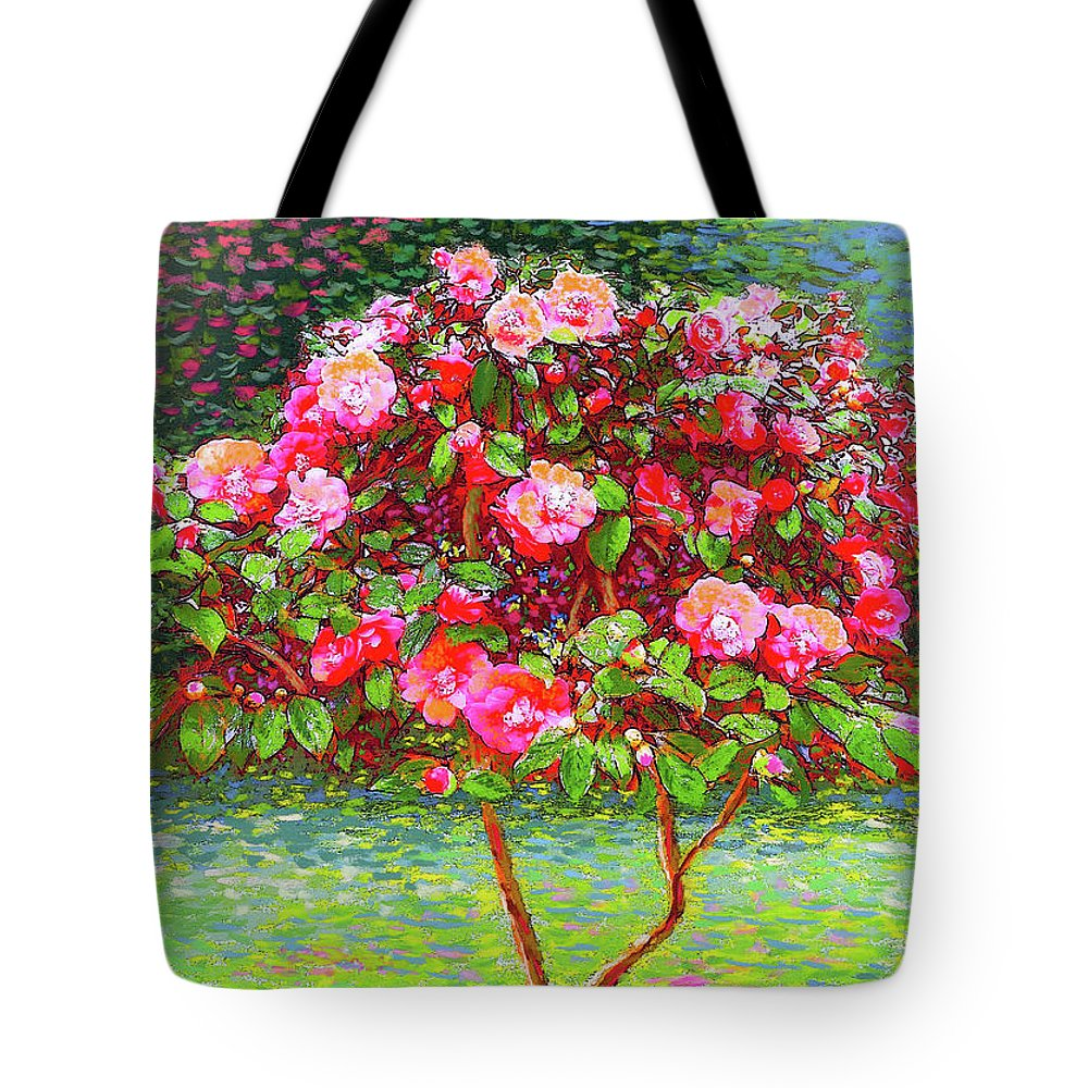 Floral Tote Bag featuring the painting Camellia Passion by Jane Small