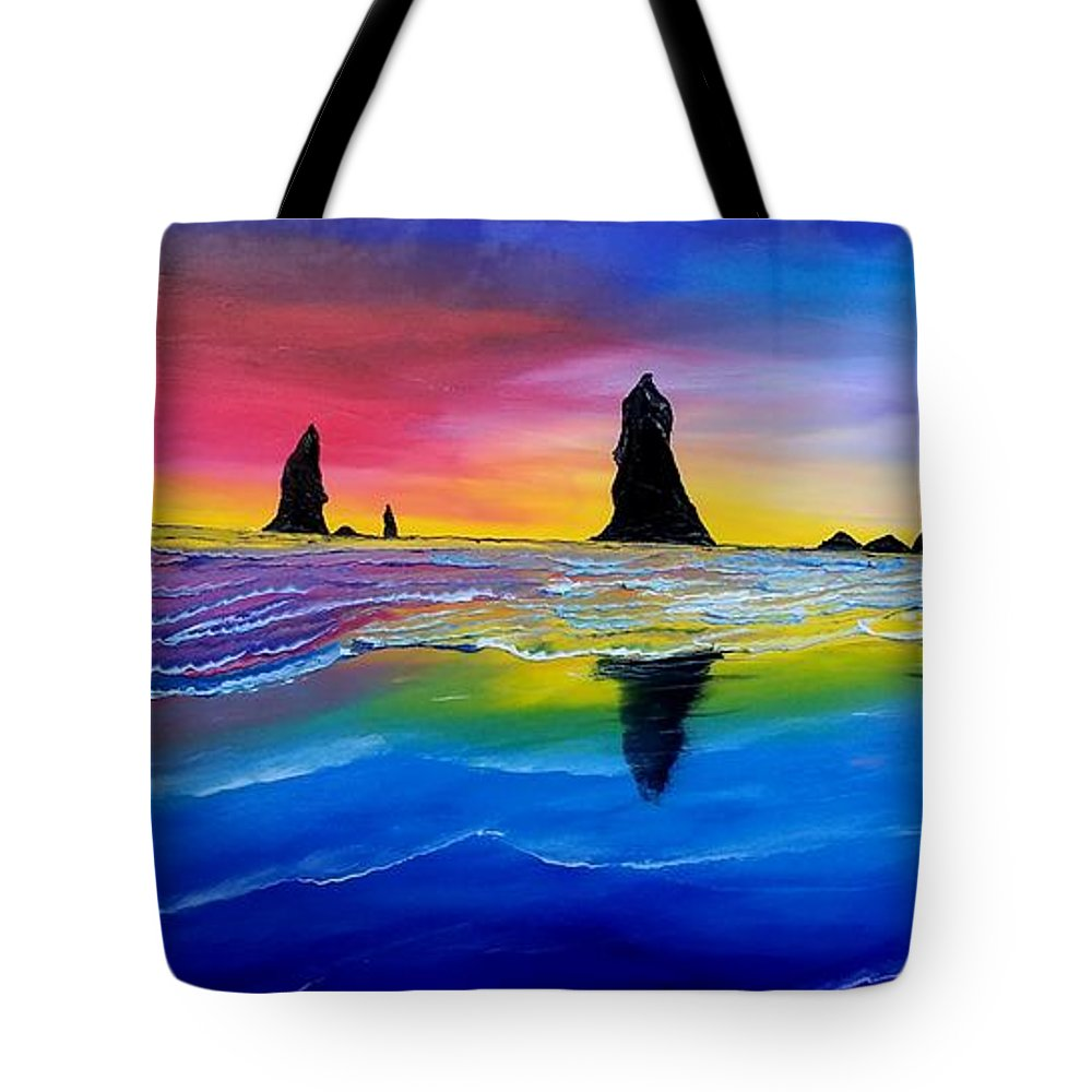 Tote Bag featuring the painting Cannon Beach Red Sunset #1 by Dunbar's Local Art Boutique