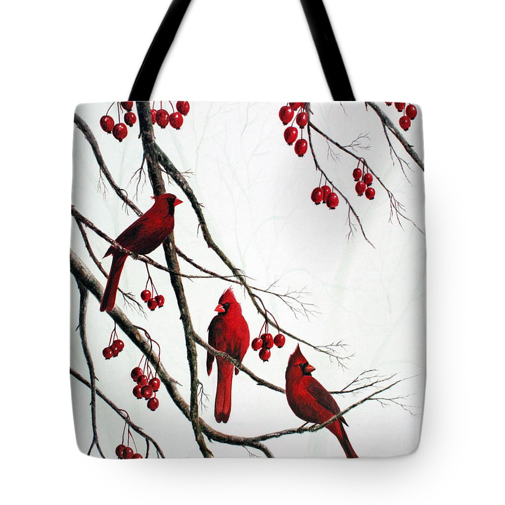 Birds; Cardinals; Trees Tote Bag featuring the painting Cardinals And Crabapples by Ben Kiger