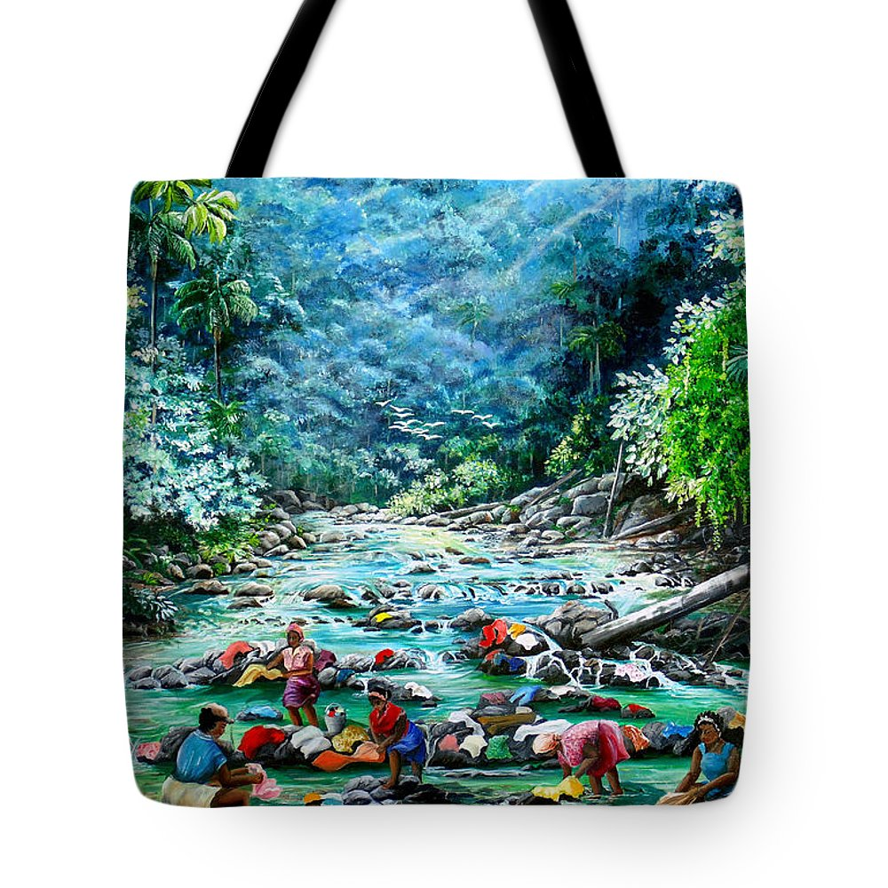 Land Scape Painting River Painting Mountain Painting Rain Forest Painting Washerwomen Painting Laundry Painting Caribbean Painting Tropical Painting Village Washer Women At A Mountain River In Trinidad And Tobago Tote Bag featuring the painting Caribbean Wash Day by Karin Dawn Kelshall- Best