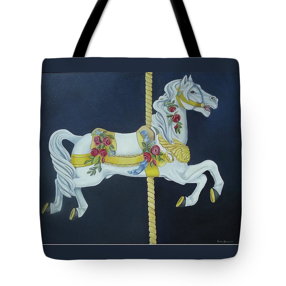 Horse Tote Bag featuring the painting Carousel Horse 1 by Wanda Dansereau
