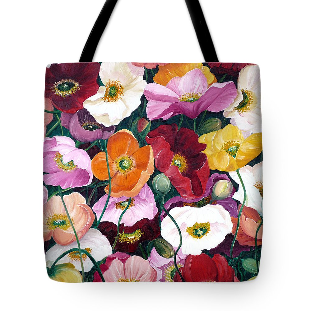Flower Painting Floral Painting Poppy Painting Icelandic Poppies Painting Botanical Painting Original Oil Paintings Greeting Card Painting Tote Bag featuring the painting Cascade Of Poppies by Karin Dawn Kelshall- Best