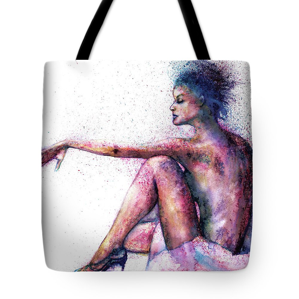 Woman Tote Bag featuring the painting Cat original oil painting by Natalja Picugina