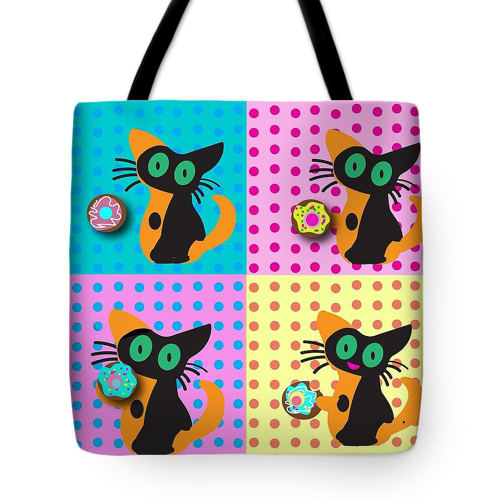 Warhol-inspired Cat With Donuts Pop Art Tote Bag featuring the digital art Cat with donuts by Barbara Bullington