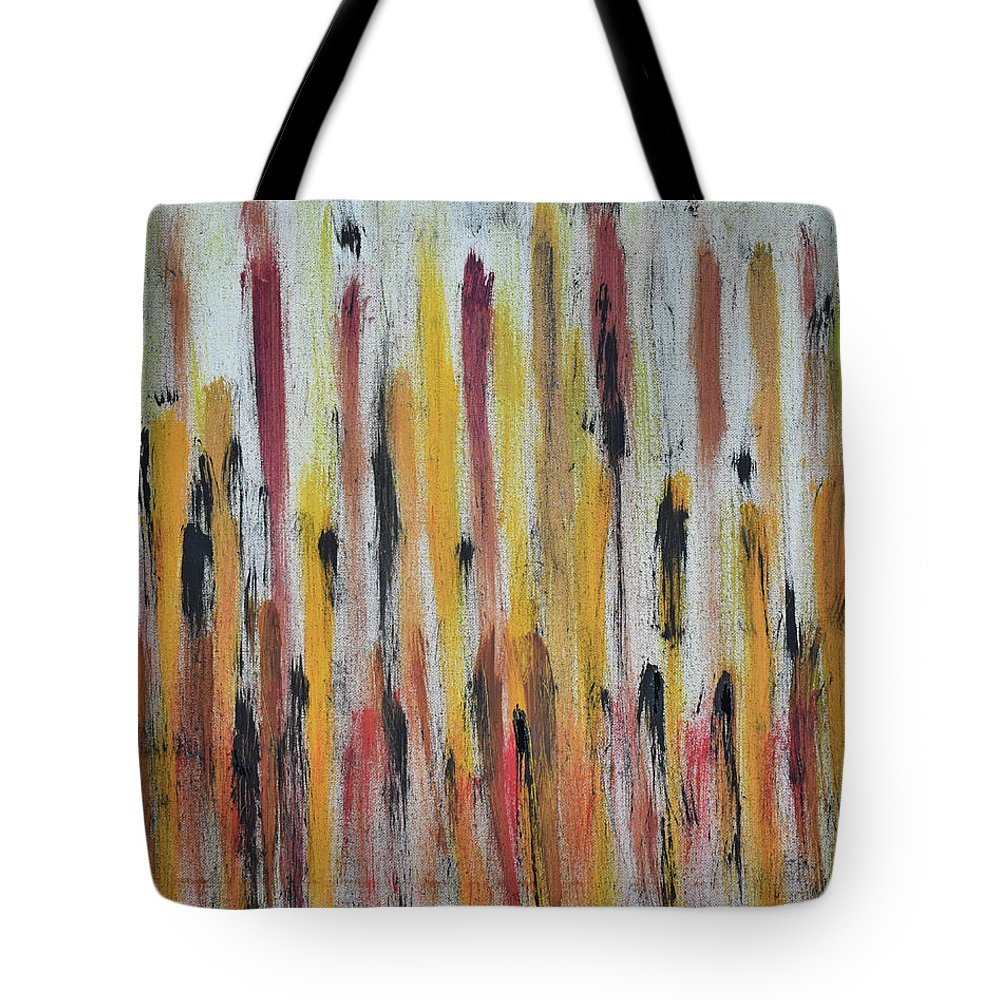 Red Tote Bag featuring the painting Cattails at Sunset by Pam Roth O'Mara