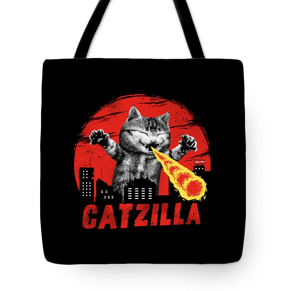 Cat Tote Bag featuring the digital art Catzilla by Vincent Trinidad