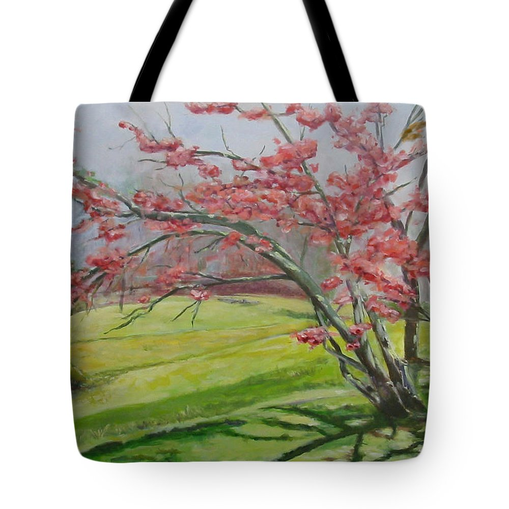 Landscape Tote Bag featuring the painting Cedarock Plum by Jude Lobe