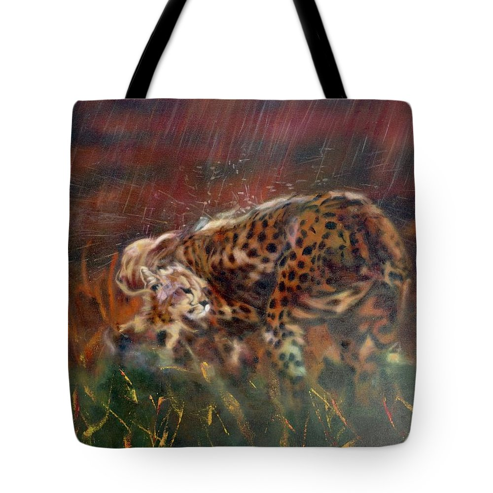 Oil Painting On Canvas Tote Bag featuring the painting Cheetah Family After The Rains by Sean Connolly