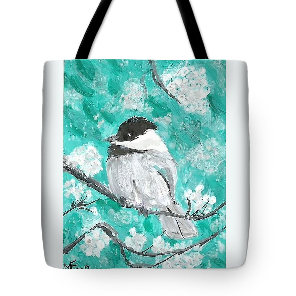 Chickadee Painting Tote Bag featuring the painting Chickadee by Monica Resinger