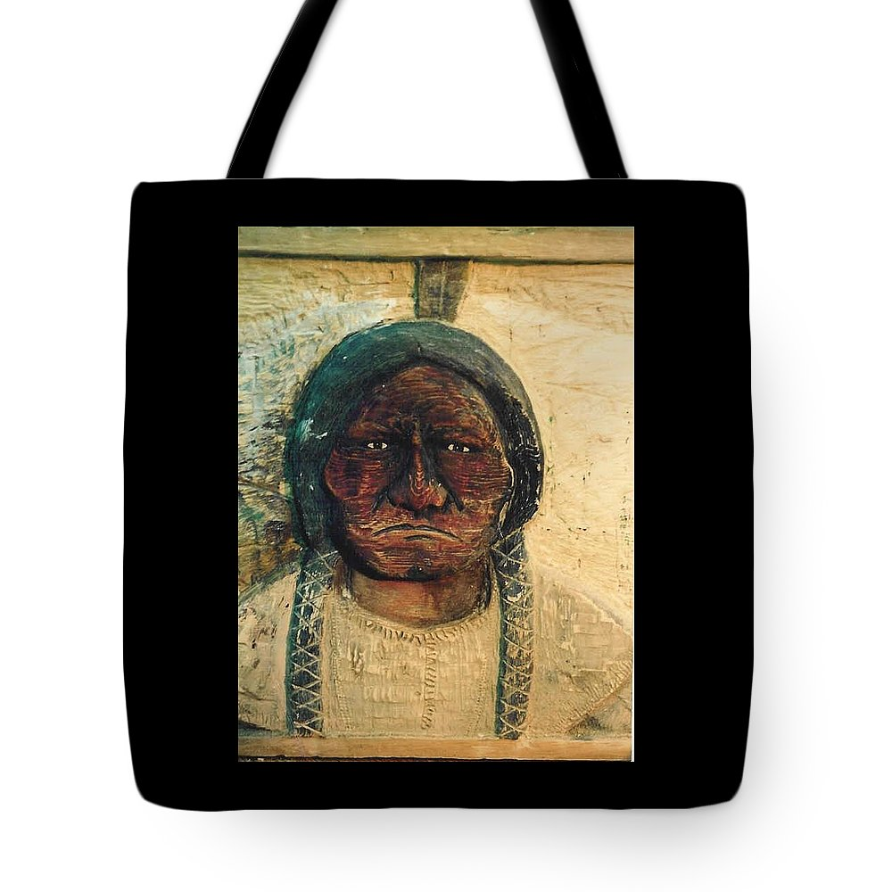 Indian Tote Bag featuring the sculpture Chief Sitting Bull by Michael Pasko