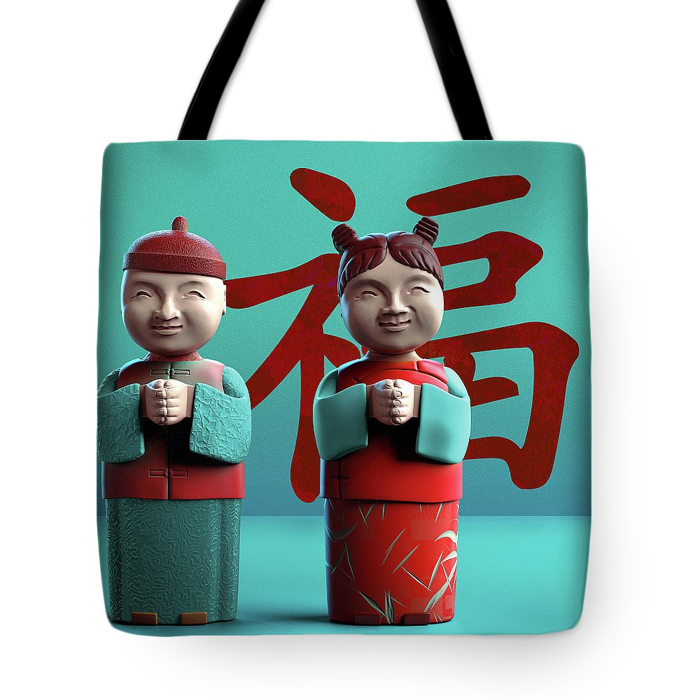 China Tote Bag featuring the digital art Chinese Good Luck Statues by Heike Remy