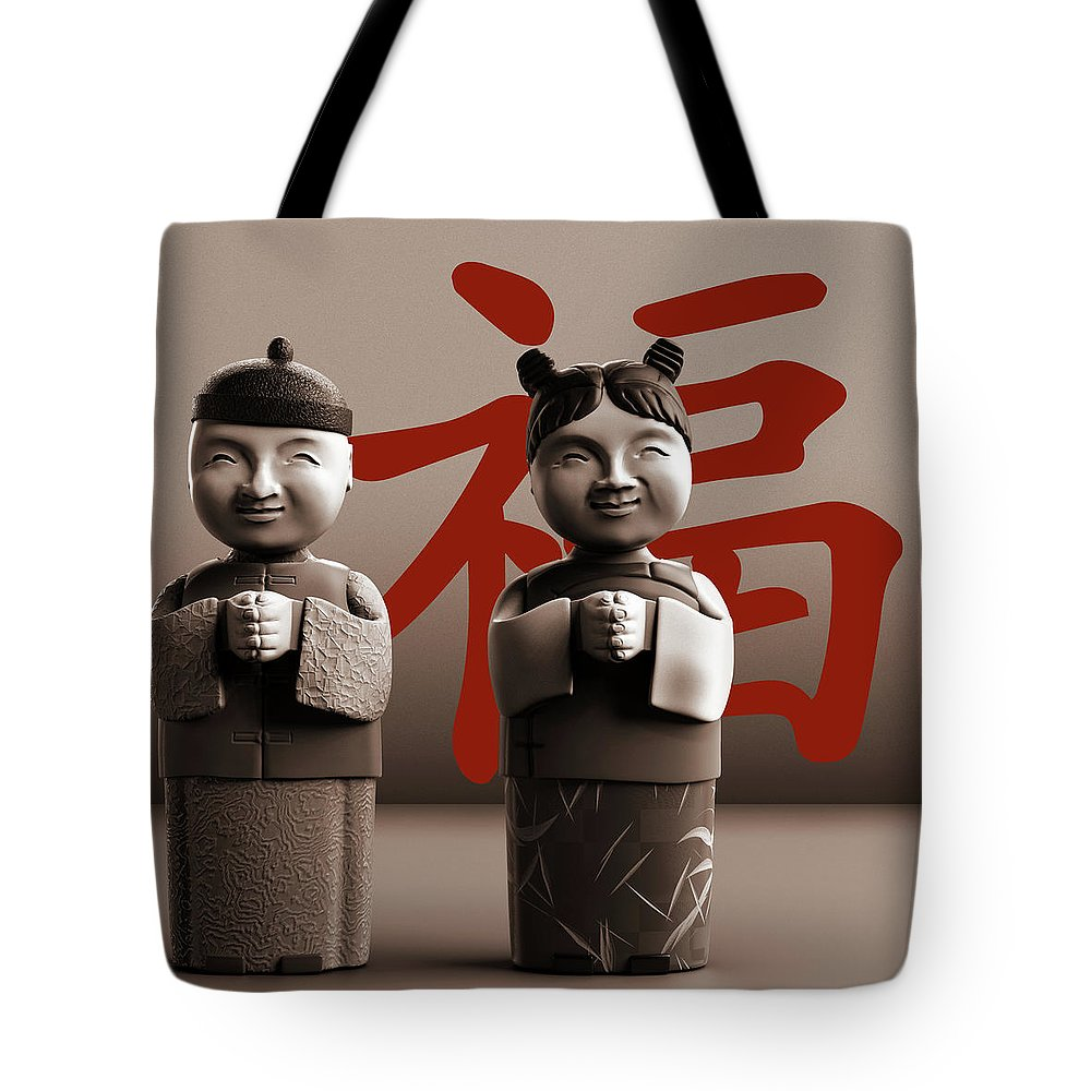 Chinese Tote Bag featuring the digital art Chinese Statues_Sepia by Heike Remy