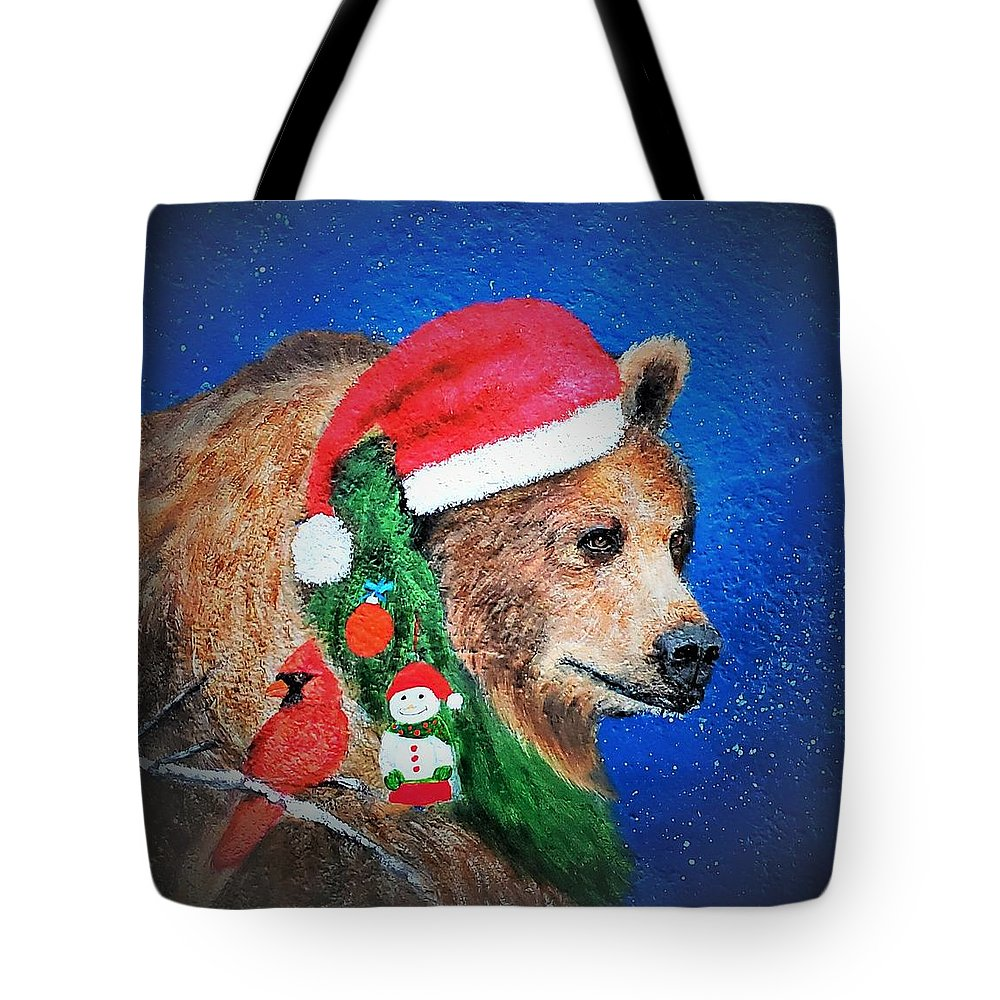 Grizzly Tote Bag featuring the painting Christmas Grizzly by Suzy Combs