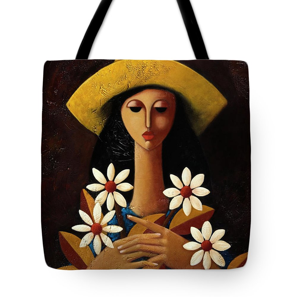 Puerto Rico Tote Bag featuring the painting Cinco Margaritas by Oscar Ortiz