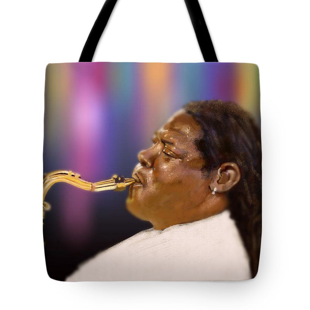 Clarence Clemons Tote Bag featuring the digital art Clarence by Arie Van der Wijst