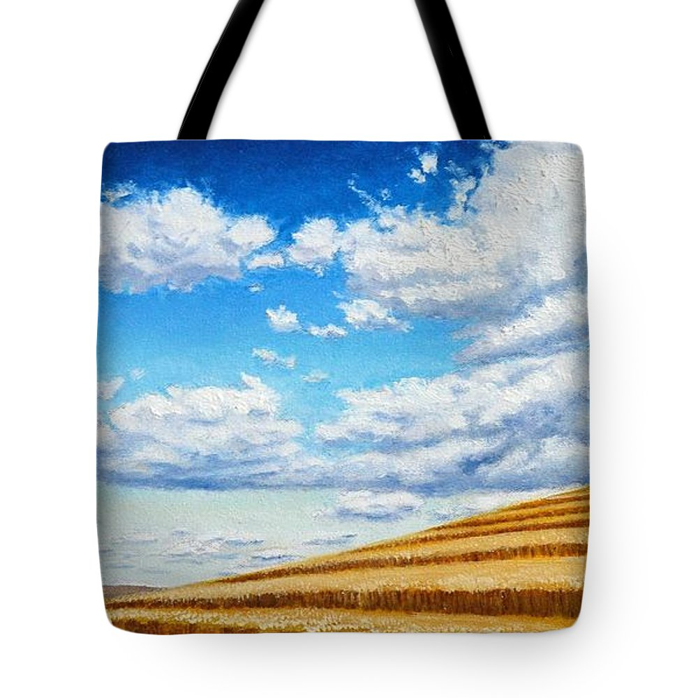 Palouse Tote Bag featuring the painting Clouds on the Palouse near Moscow Idaho by Leonard Heid