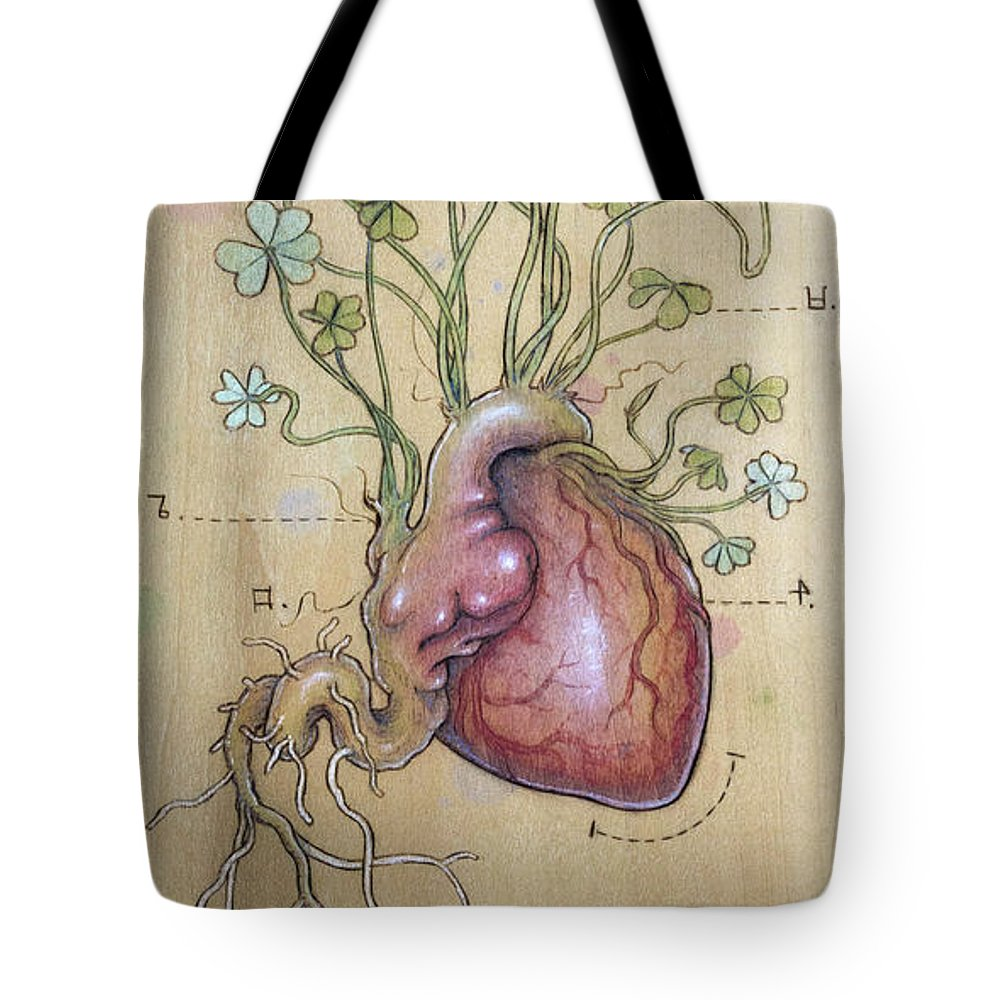 Clover Tote Bag featuring the pyrography Clover Heart by Fay Helfer