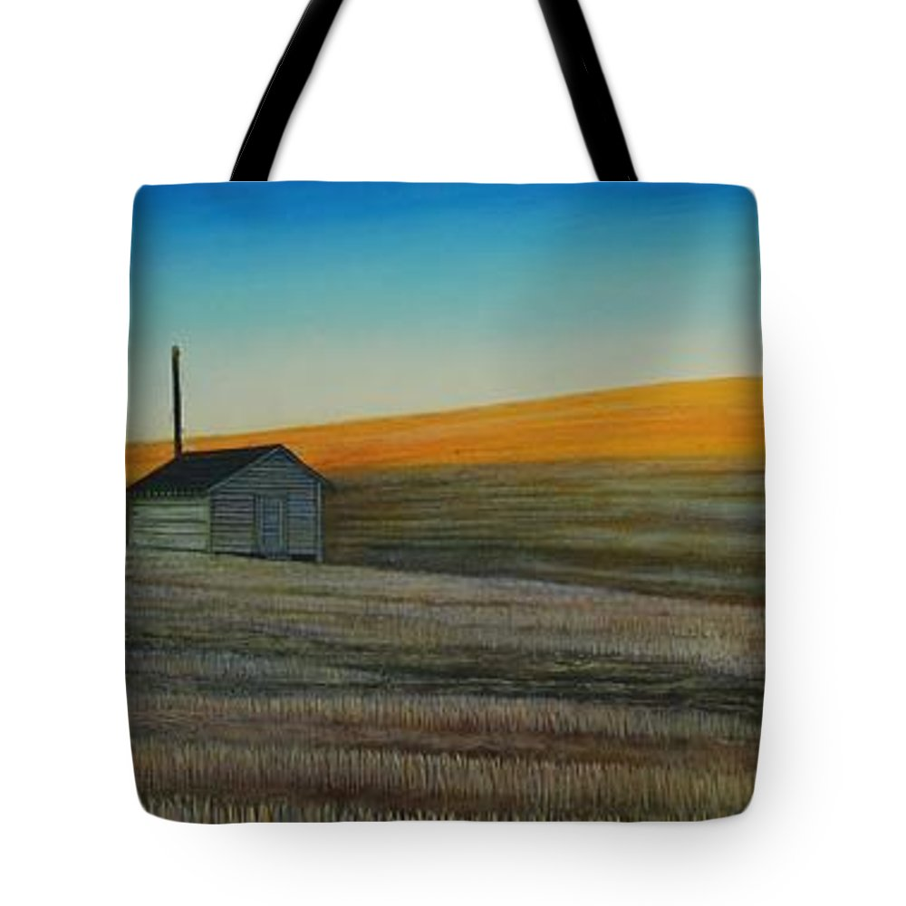 Wheat Tote Bag featuring the painting Cold Field at Dusk by Leonard Heid