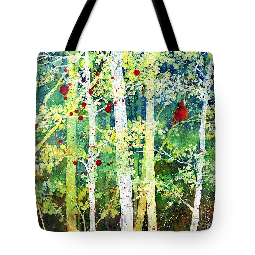 Cardinal Tote Bag featuring the painting Colorful Presence by Hailey E Herrera