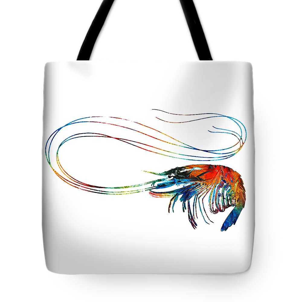 Shrimp Tote Bag featuring the painting Colorful Shrimp Art by Sharon Cummings by Sharon Cummings
