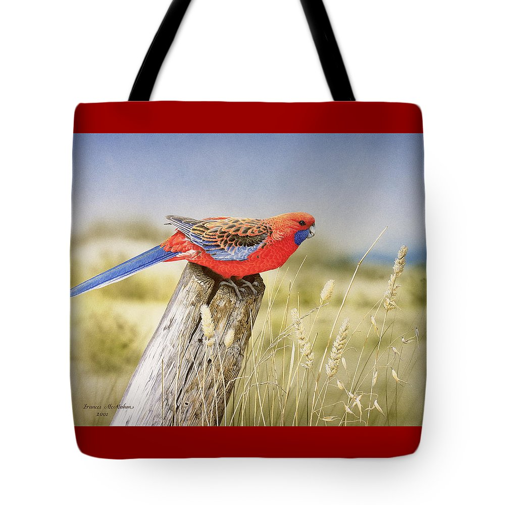 Bird Tote Bag featuring the painting Colour and Light - Crimson Rosella by Frances McMahon