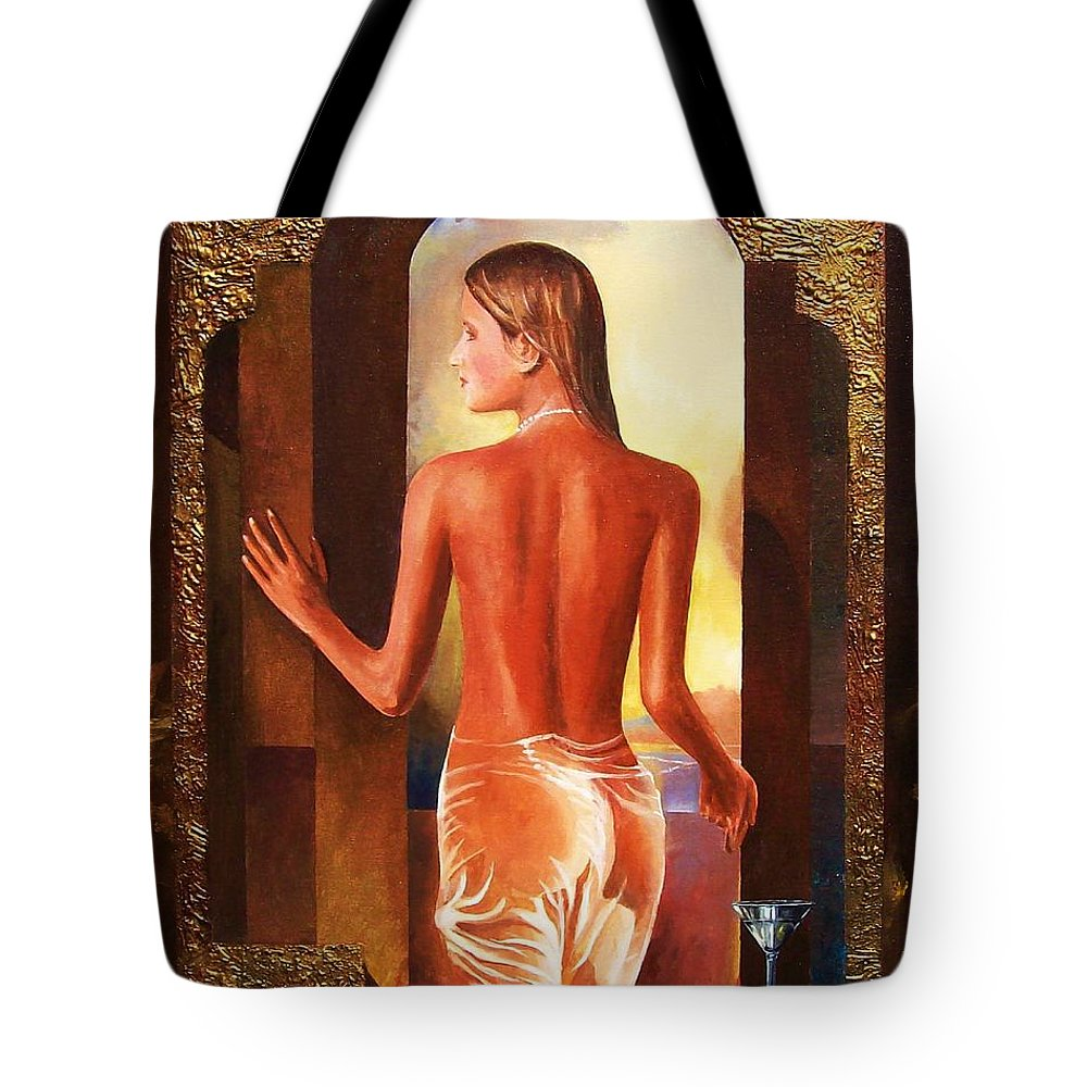 Nudes Tote Bag featuring the painting Come To Me by Sinisa Saratlic