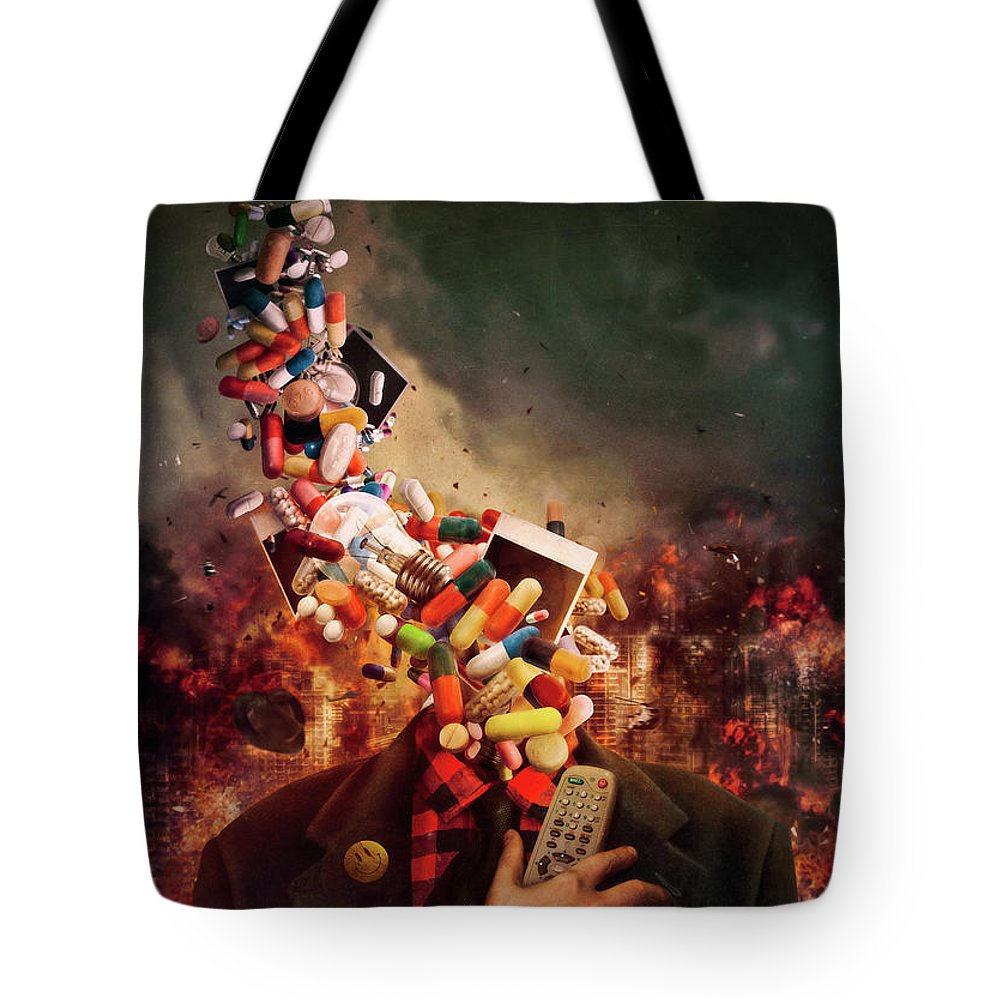 Surreal Tote Bag featuring the digital art Comfortably Numb by Mario Sanchez Nevado